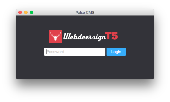 This shows the PulseCMS Launcher Mac App customer with a Webdeersign logo.